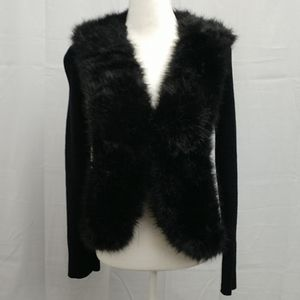 Lisa International Faux Fur Collared Cardigan